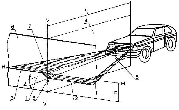 Схема расположения транспортного средства на посту проверки света фар