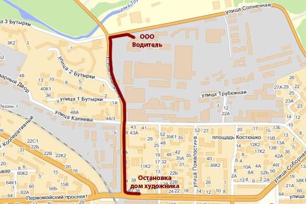 Схема проезда к ООО Водитель Рязань