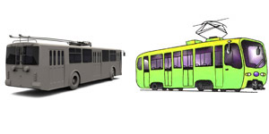 Троллейбус категории Tb и трамвай категории Tm