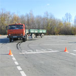 Сдача автодрома на грузовике с прицепом