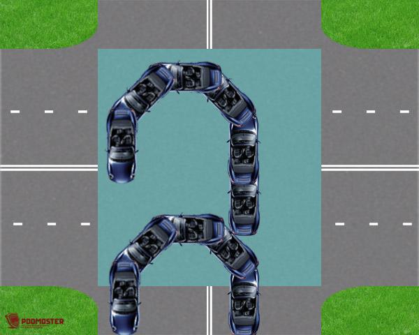 Правильная траектория разворота на перекрестке