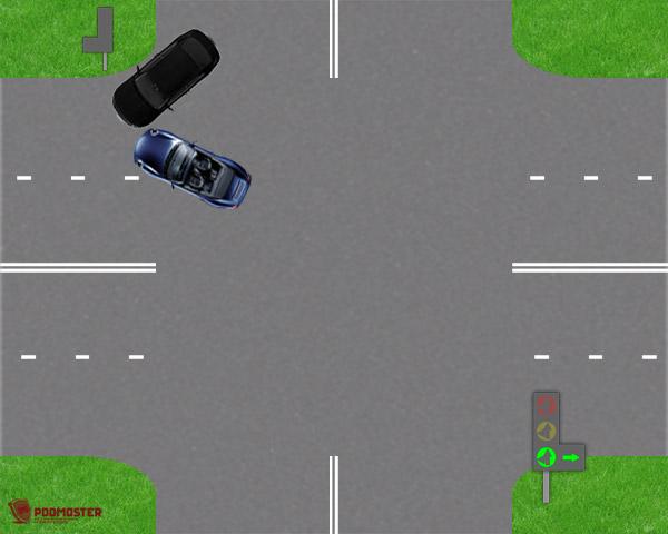 Столкновение автомобилей при повороте налево