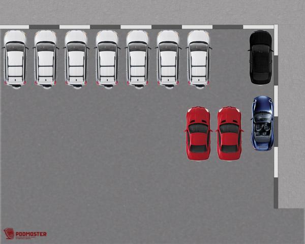 Автомобиль стоит параллельно бордюру