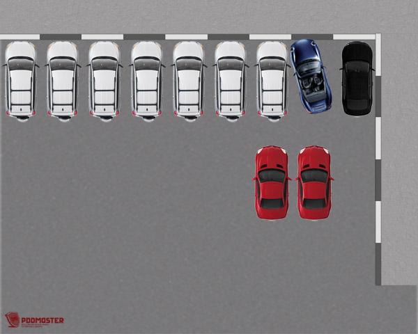 Минимальное расстояние между синим и белым автомобилями