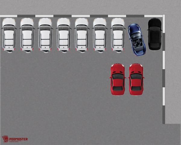 Выкручиваем руль до конца налево