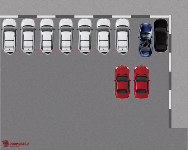 Заднее правое колесо автомобиля расположено на уровне заднего бампера черной машины