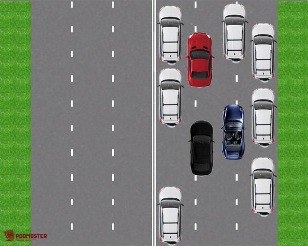 Движение автомобилей в 4 ряда
