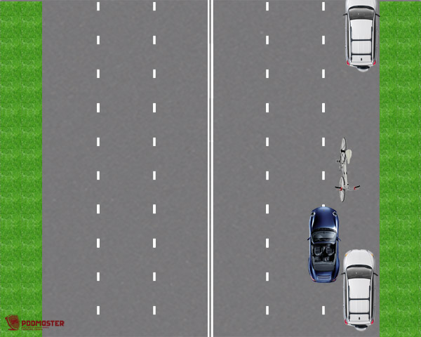 Движение велосипеда навстречу автомобилям