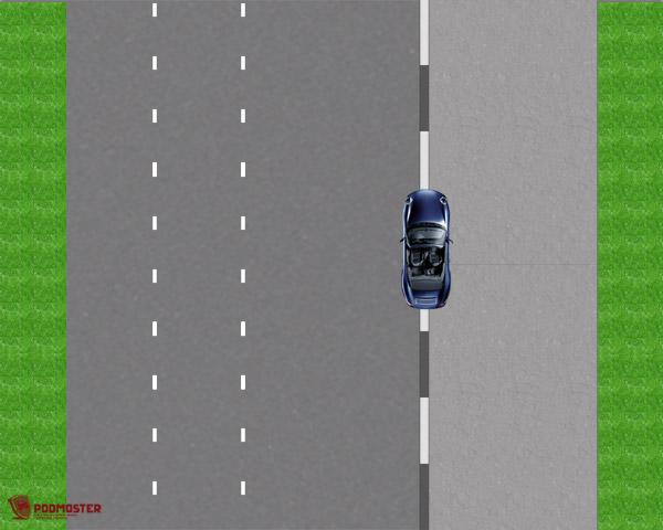 Правая сторона автомобиля на высоком бордюре