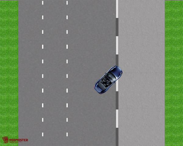 Правое переднее колесо на среднем бордюре