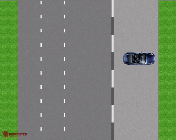 Автомобиль на среднем бордюре