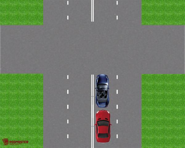 Автомобили перед перекрестком