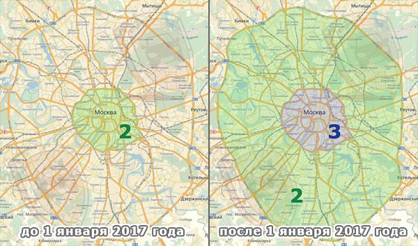 Карта въезда грузовиков в центр Москвы