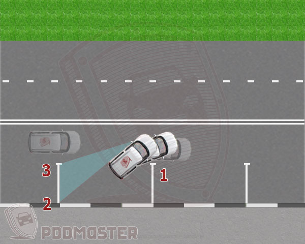 Поворот всторону парковочного места