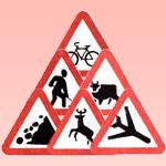 Знаки дорожные работы, дикие животные, затор, прочие опасности