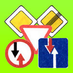 Знаки приоритета: главная дорога, уступите дорогу, движение без остановки запрещено