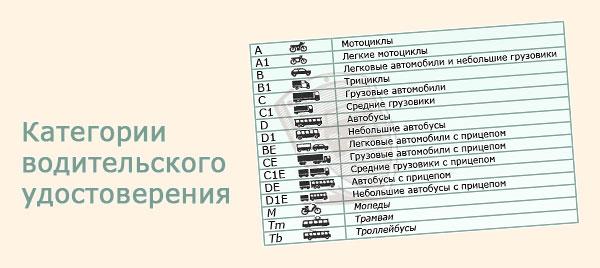 Категории водительских прав в 2018 году: A, B, C, D, М, BE, CE, DE