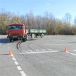 Сдача автодрома нагрузовике сприцепом