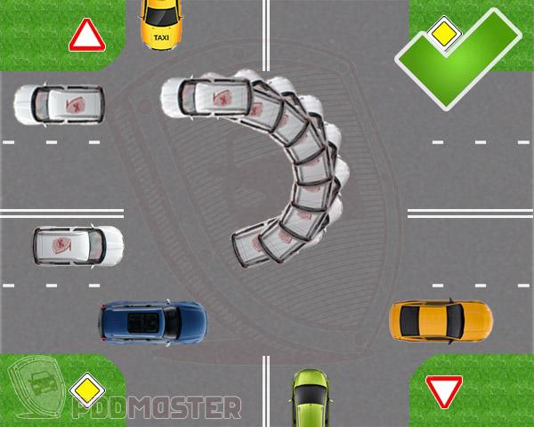 Разворот на дороге с обочины
