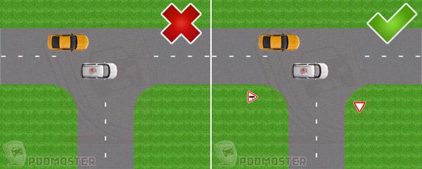 Равнозначный т образный перекресток правила проезда